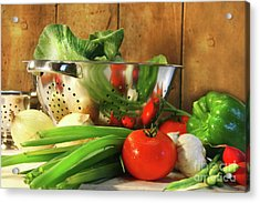 Veggies On The Counter Acrylic Print by Sandra Cunningham