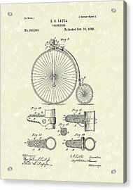 Velocipede Latta 1888 Patent Art Acrylic Print by Prior Art Design