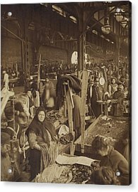 Vendors Selling Fish At A Market In New Acrylic Print by Everett