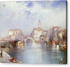 Venetian Canal Acrylic Print by Thomas Moran