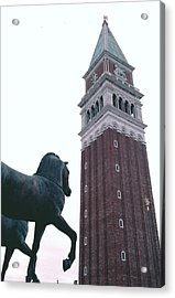 Acrylic Print featuring the photograph Venice Bell Tower St Marks Horses by Tom Wurl