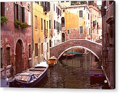 Acrylic Print featuring the photograph Venice Bridge Over A Small Canal. by Tom Wurl