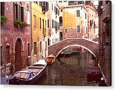 Venice Bridge Over A Small Canal. Acrylic Print