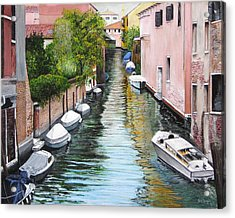 Acrylic Print featuring the painting Venice Canal by Stuart B Yaeger