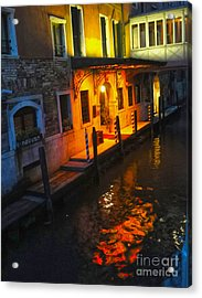 Venice Italy - Canal At Night Acrylic Print by Gregory Dyer