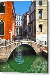 Venice Italy - Canal Bridge Acrylic Print by Gregory Dyer