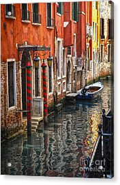 Venice Italy - Quiet Canal Acrylic Print by Gregory Dyer