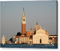 Venice Italy - San Giorgio Maggiore Island At Sunset Acrylic Print by Gregory Dyer