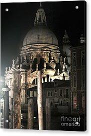 Venice Italy - Santa Maria Della  Salute At Night Acrylic Print by Gregory Dyer