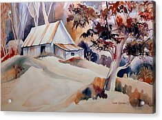 Vermont Sugar Shack Cabin In Winter Acrylic Print by Carole Spandau