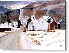 Vermont Winter Village Acrylic Print by Karol Wyckoff