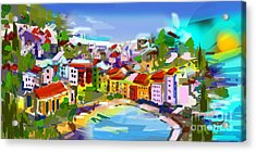 Vernazza Italy Cinque Terre Digital Painting Acrylic Print by Ginette Callaway