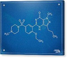 Viagra Molecular Structure Blueprint Acrylic Print by Nikki Marie Smith