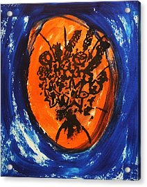 Acrylic Print featuring the painting Victorian Contemporary Flowers In Blue And Orange Vortex Swirls Acrylic Monoprint Serigraph by M Zimmerman
