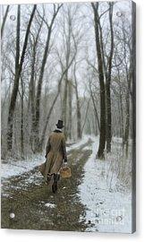 Victorian Gentleman Walking Through Woods Acrylic Print by Jill Battaglia