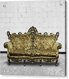 Victorian Sofa In White Room Acrylic Print