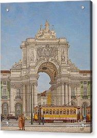 Victory Ach Lisbon - Arco Da Vitoria Lisboa Acrylic Print by Carlos De Vasconcelos Tavares