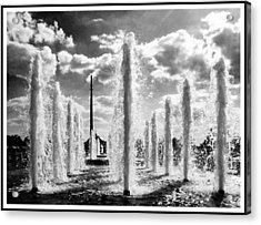 Victory Park Fountains Acrylic Print by Mark Britten