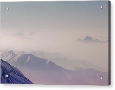 View Across Chamonix Valley Acrylic Print by Ginny Battson