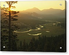 View At Dawn Of The Tuolumne River Acrylic Print by Phil Schermeister