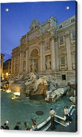 View At Dusk Of The Trevi Fountain Acrylic Print by Richard Nowitz