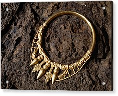 View Of A Golden Celtic Necklace During Excavation Acrylic Print by Volker Steger