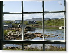 View Of A Harbor Through Window Panes Acrylic Print by Pete Ryan