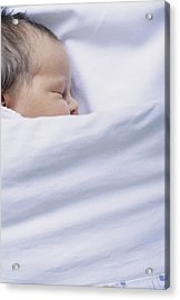 View Of A Premature Baby Asleep In A Cot Acrylic Print