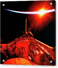 View Of An Eclipse From Space Acrylic Print by Stockbyte