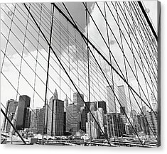 View Of New York From Brooklyn Bridge, Usa Acrylic Print by Martin Child