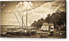 View Of Pin Mill From King's Yard Sepia Acrylic Print by Gary Eason