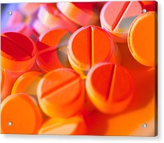 View Of Several Scored Paracetamol Tablets Acrylic Print by Steve Horrell