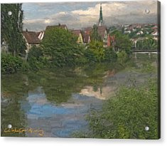 View Of The Cathedral In Rottenburg On Neckar Acrylic Print by Nikolay Vakatov