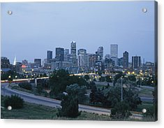 View Of The Denver Skyline At Twilight Acrylic Print by Richard Nowitz