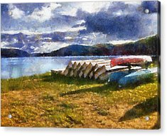Acrylic Print featuring the painting View Of The Lake From Camp Dorset by Mario Carini