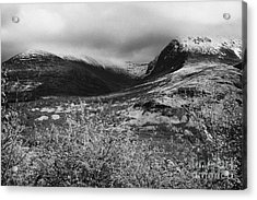 View Of The Summit Of Ben Nevis Snow Capped And Shrouded In Mist In Spring Near Fort William Scotlan Acrylic Print by Joe Fox