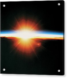 View Of The Sunrise From Space Acrylic Print