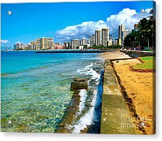 Acrylic Print featuring the photograph View Of Waikiki by Joe Finney