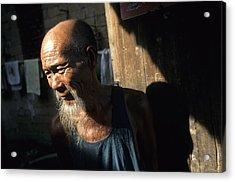 Village Elder At Doorway, Yangdi Acrylic Print by Raymond Gehman