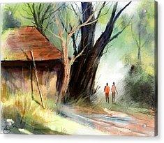 Village Acrylic Print by Kiran Kumar
