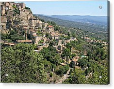 Village On A Hillside Acrylic Print by Sandra Anderson