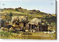Village On River Don Acrylic Print by Pg Reproductions