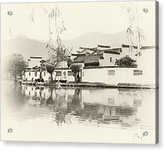 Village On Water Acrylic Print by Nian Chen