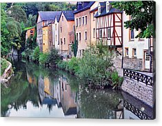 Village Reflections In Luxembourg I Acrylic Print by Greg Matchick