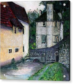 Acrylic Print featuring the painting Village Scene by Rosemarie Hakim