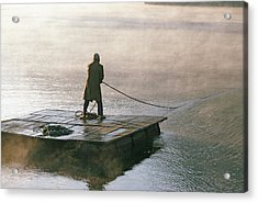 Villager On Raft Crosses Lake Phewa Tal Acrylic Print by Gordon Wiltsie
