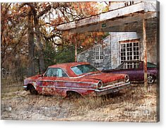 Vintage 1950 1960 Ford Galaxy Red Car Photo Acrylic Print by Svetlana Novikova