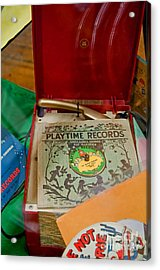 Vintage 45 Record Player And Record Albums Acrylic Print by Valerie Garner