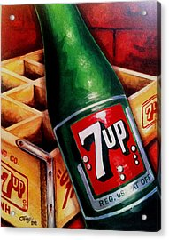 Vintage 7up Bottle Acrylic Print by Terry J Marks Sr