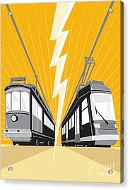 Vintage And Modern Streetcar Tram Train Acrylic Print by Aloysius Patrimonio